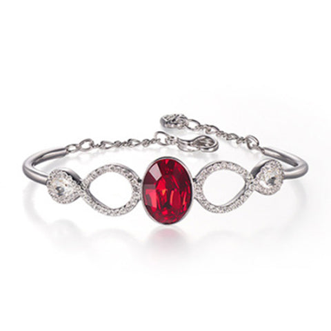 Swarovski Siam Red & Clear Crystal MILES BANGLE Bracelet Medium #5039225