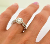 1ct Engagement Solitaire RING w/Accent Signity CZ Rhodium over Sterling Silver - Zhannel  - 3