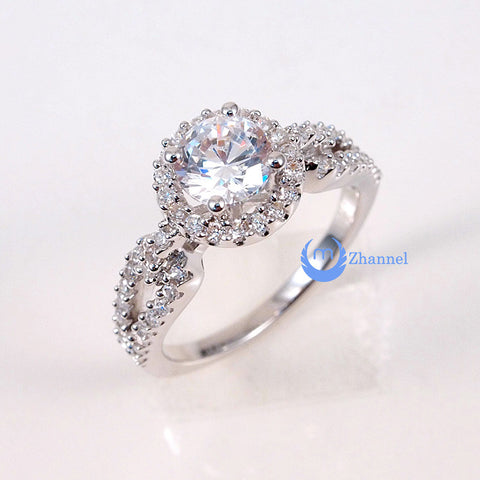 1ct Engagement Solitaire RING w/Accent Signity CZ Rhodium over Sterling Silver - Zhannel  - 1