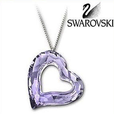 Swarovski Large Crystal Love heart Lilac Purple Heart Pendant Necklace #1087209 - Zhannel  - 1