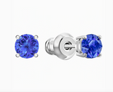 Swarovski ATTRACT STUD PIERCED EARRINGS, Blue, Rhodium -5512385