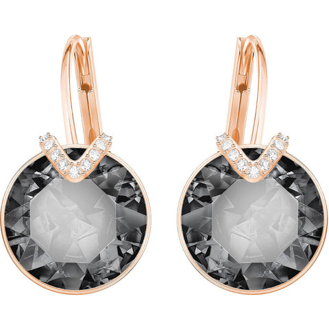 Swarovski BELLA V PIERCED EARRINGS, Gray, Rose Gold - 5353202