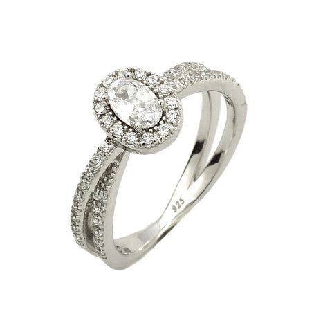 0.5 Oval Cut Solitaire w/Accent Engagement Ring Rhodium over Silver w/CZ