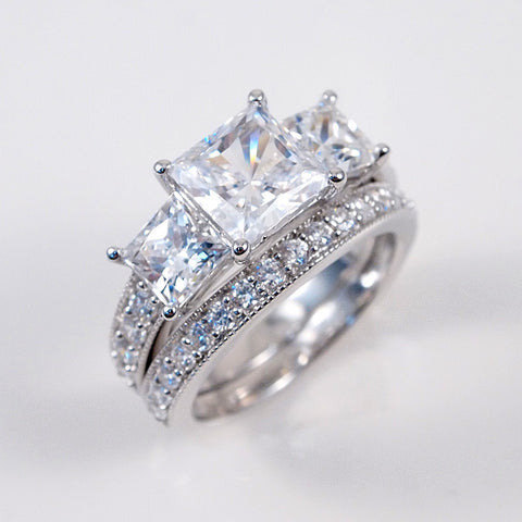 3.5ct Engagement Wedding Set 2 RINGS Princess Cut Tri-Stone Sterling Silver
