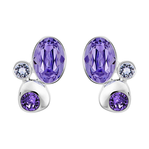 Swarovski Crystal Pierced Studs Earrings CALMLY, Tanzanite -5101322