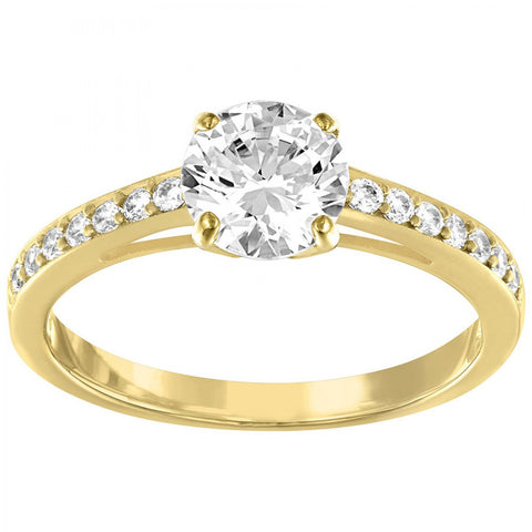 Swarovski Round Engagement Ring ATTRACT RING, Gold (Small/52/6) -5139067