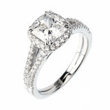 1.5ct Cushion Cut Solitaire w/Accent Engagement Ring Rhodium over Silver w/CZ