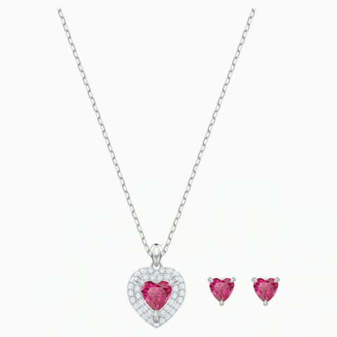 Swarovski ONE SET Heart Jewelry Hearts Studs & Pendant, Red, Rhodium - 5470602