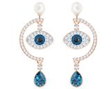 Swarovski LUCKILY EVIL EYE PIERCED EARRINGS, Blue, Rose Gold -5425860