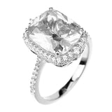 6.8ct Radiant Cut Solitaire w/Accent Engagement Ring Rhodium over Silver w/CZ