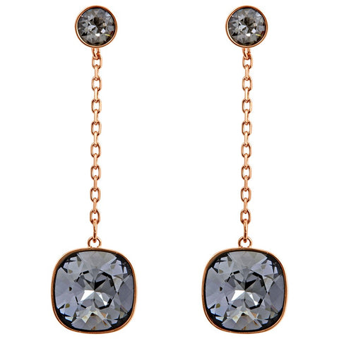 Swarovski JEWELRY Pierced Earrings LATTITUDE Chain Jet Rose Gold -5373647