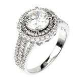 1.5ct Round Cut Solitaire w/Accent Engagement Ring Rhodium over Silver w/CZ