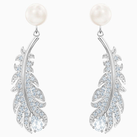Swarovski Jewelry NICE PIERCED EARRINGS, White, Rhodium -5496052
