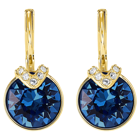 Swarovski MINI BELLA V PIERCED EARRINGS, Blue, Gold Tone- 5498875