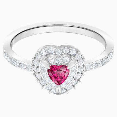Swarovski Jewelry ONE RING Heart, Red, Rhodium Plated