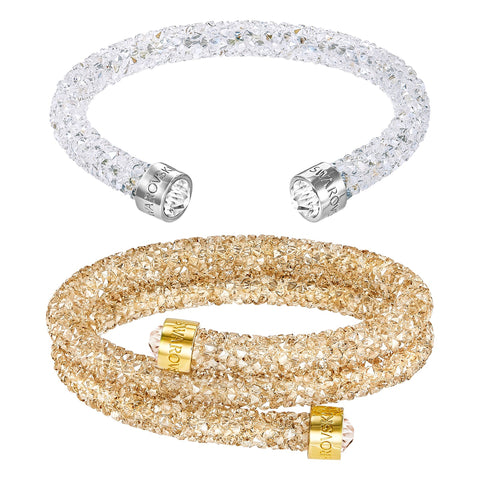 Swarovski CRYSTALDUST Bangle Set of 2 Bracelets Golden Double, Clear Single -5258526