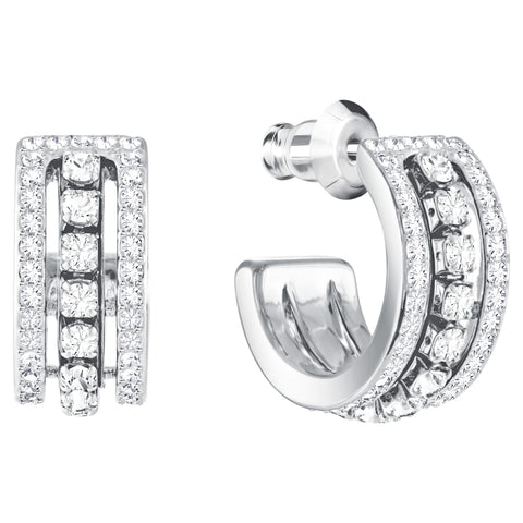 Swarovski Jewelry FURTHER EARRINGS, Hoop, White, Rhodium -5409658