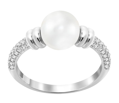 Swarovski Clear Crystal & Pearl Ring ENLACE Rhodium Plated