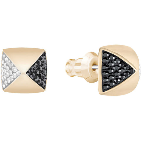 Swarovski Pierced Earrings GLANCE, Clear & Jet, Rose Gold- 5272101