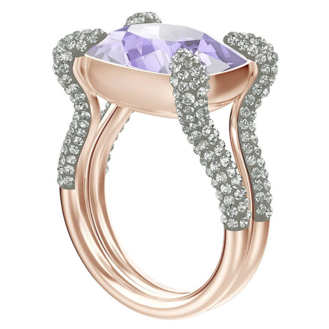 Swarovski Violet Crystal Cocktail Ring MAKE UP Rect, Rose Gold