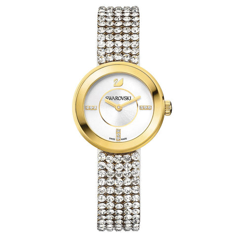 Swarovski Clear Crystal Watch Piazza Mini Mesh Yellow Gold Tone #1194086