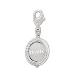 Swarovski Clear Crystal Jewelry THANK YOU Charm Rhodium #1161015