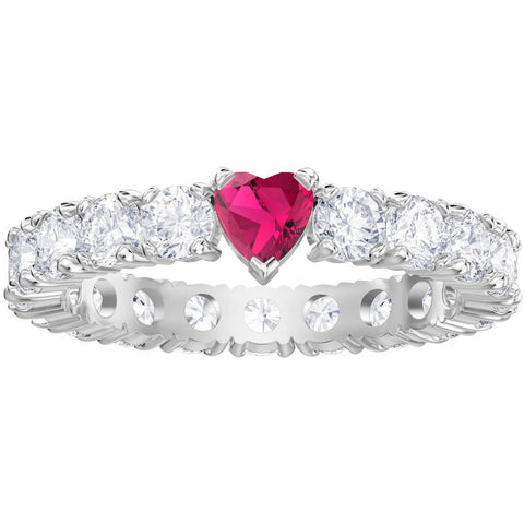 Swarovski Clear Crystals Eternity Pink Heart LOVE Ring, Rhodium