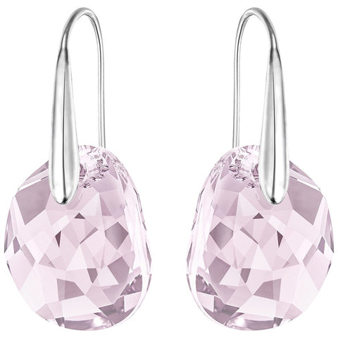 Swarovski Light Amethyst Crystal JEWELRY Pierced Earrings GALET Rhodium #5023083