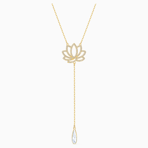 Swarovski Jewelry SYMBOLIC LOTUS Y NECKLACE, White, Gold Tone -5521468
