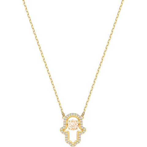 Swarovski Crystal LUCKILY HAMSA Hand Necklace, Yellow Gold -5448612