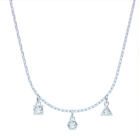SWAROVSKI Trio Crystal Pendants SIMPLE Necklace, Rhodium- 5568012