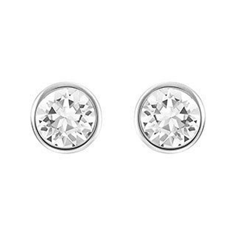 Swarovski Clear Crystal Solitaire Studs Pierced Earrings Rhodium #5101338