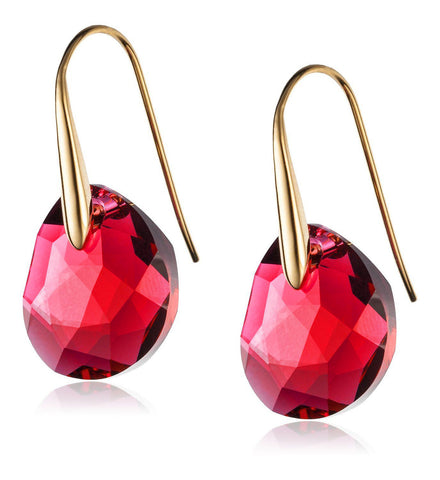 Swarovski Red Crystal Jewelry GALET Pierced Earrings Yellow Gold #5110575