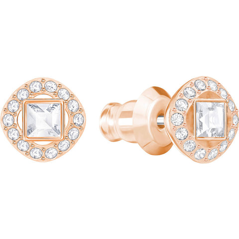 Swarovski Clear Crystal ANGELIC SQAURE Pierced Earring, Rose Gold -5352049