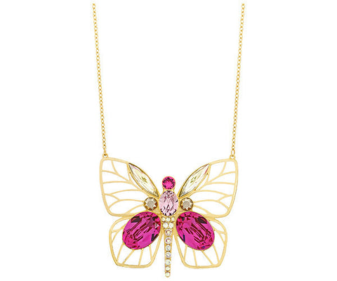 Swarovski MultiColor Crystal LONG Butterfly Pendant BLOOM 75cm #5160077
