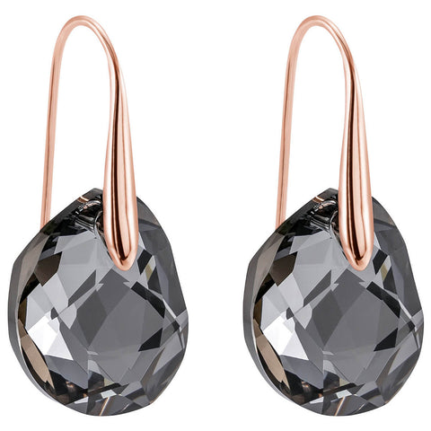 Swarovski Gray Crystal JEWELRY Pierced Earrings GALET Rose Gold #5165033