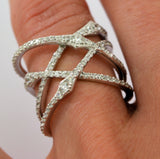 Spiral Crossover Fashion Ring EMILY Signity CZ Rhodium over Sterling Silver