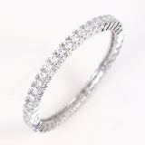 Wedding ETERNITY RING 2mm Band Signity CZ Rhodium over Sterling Silver