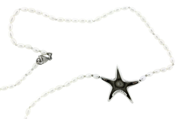 Tiffany & Co pearl starfish necklace in 925 sterling silver 16 inches long
