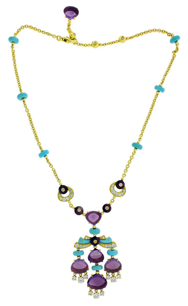 BVLGARI CL855792 Mediterranean Eden Diamond, Amethyst & Turqoise necklace in 18k