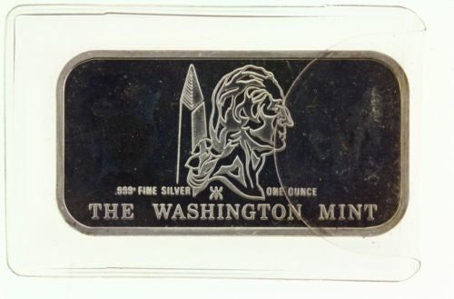 WASHINGTON MINT 1 TROY OUNCE OZ SILVER BAR .999 PURE