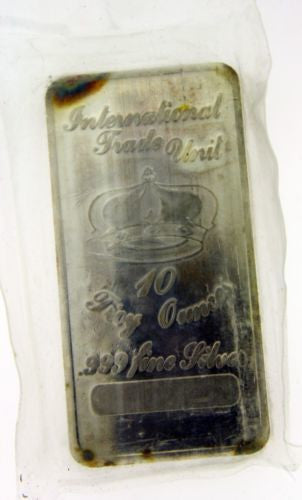 International Trade Unit 10 troy ounce silver bar .999 pure.