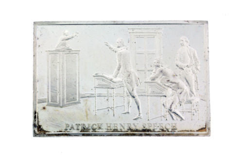Danbury Mint 1977 Patrick Henry Speech 750 grain bar in sterling silver