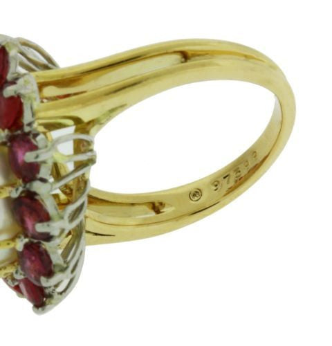 1950s Oscar Heyman large south sea pearls & ruby in platinum and 18k gold.