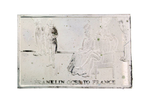 Danbury Mint 1977 Franklin goes to France 750 grain bar in sterling silver