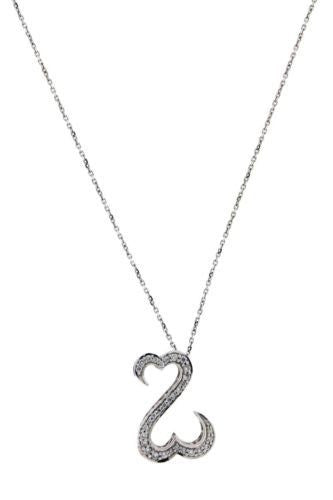 Jane Seymore Open Heart diamond Necklace in 14k white gold in new condition