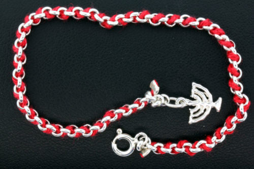 Kabalah red string & sterling silver bracelet with menorah charm 10""