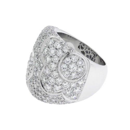 Pasquale Bruni large Women's Pave Diamond Flower Ring In 18k White Gold Size 7.5