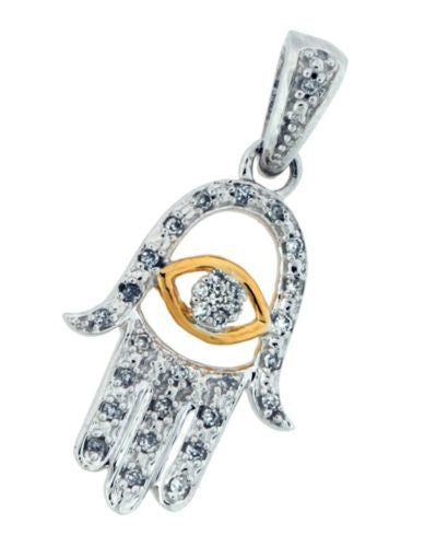 Diamond Kabalah hand pendant / charm in 10k 2 tone gold brand new