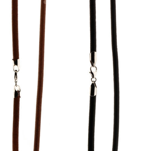 Thick leather necklace with 925 sterling silver clasp 4mm wide